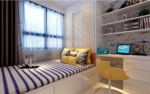 卧室彩色背景墙现代简约风格装潢图片