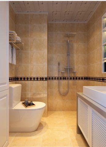 卫生间黄色背景墙现代简约风格装潢设计图片