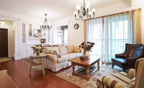 客厅黄色窗帘美式风格装修效果图