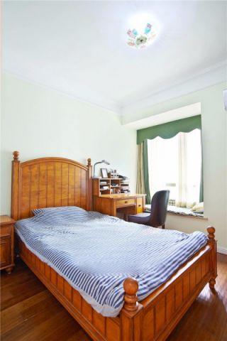 卧室绿色窗帘美式风格装饰图片