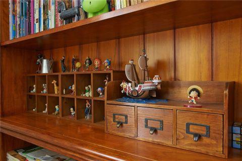 书房咖啡色细节美式风格装潢图片