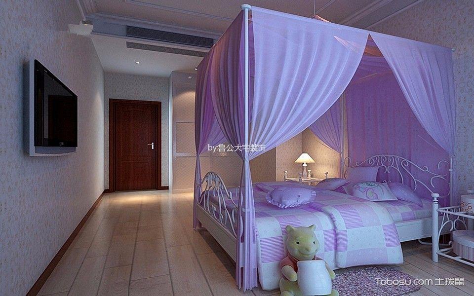 儿童房紫色床中式风格装潢设计图片