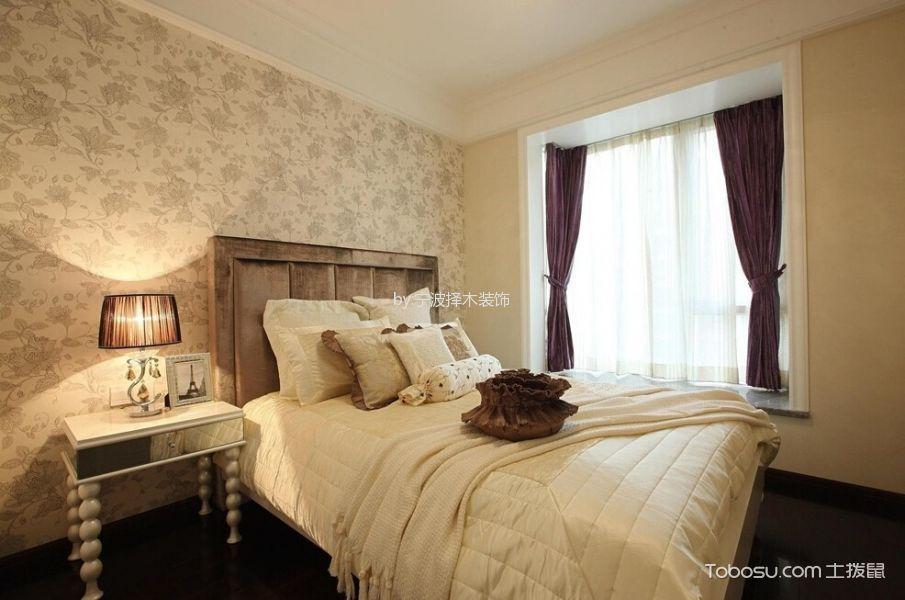 卧室白色飘窗简欧风格装潢图片