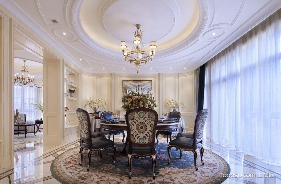 餐厅白色窗帘欧式风格装修效果图