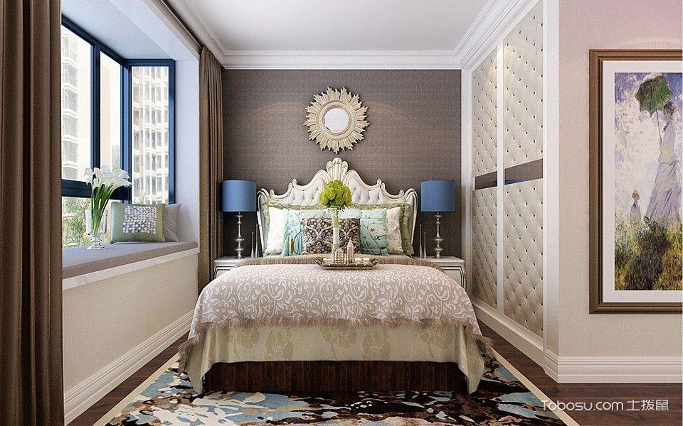 卧室灰色背景墙简欧风格装饰设计图片
