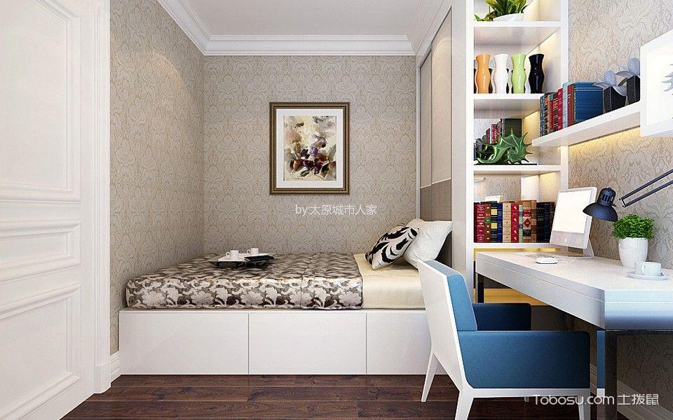 卧室白色书桌简欧风格装潢设计图片