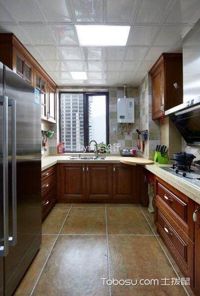厨房白色吊顶美式风格装潢图片