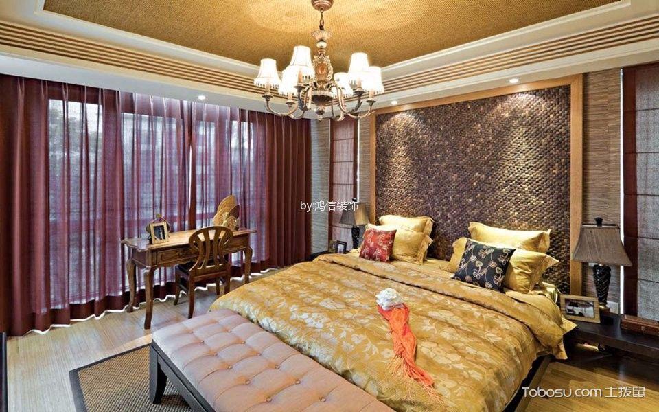 卧室红色窗帘东南亚风格装饰图片