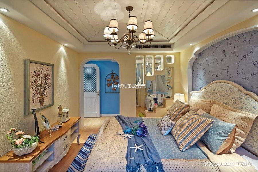 卧室米色床地中海风格装潢设计图片