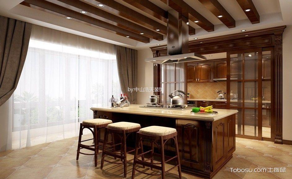 厨房咖啡色吊顶美式风格装潢效果图