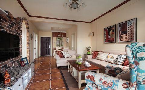 客厅米色背景墙美式风格效果图