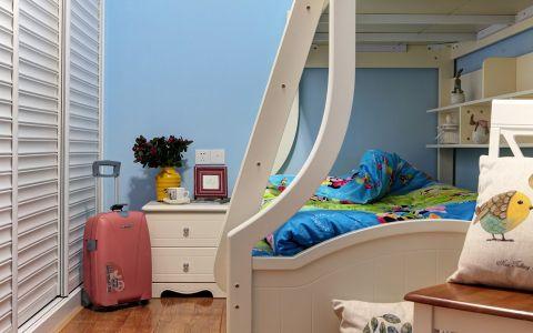 儿童房蓝色背景墙美式风格装潢效果图