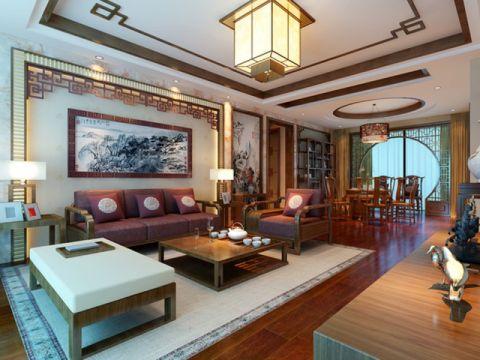 客厅背景墙中式风格装潢设计图片