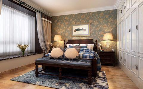 卧室彩色背景墙现代简约风格装潢效果图