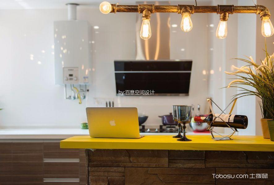 厨房黄色吧台混搭风格装潢效果图