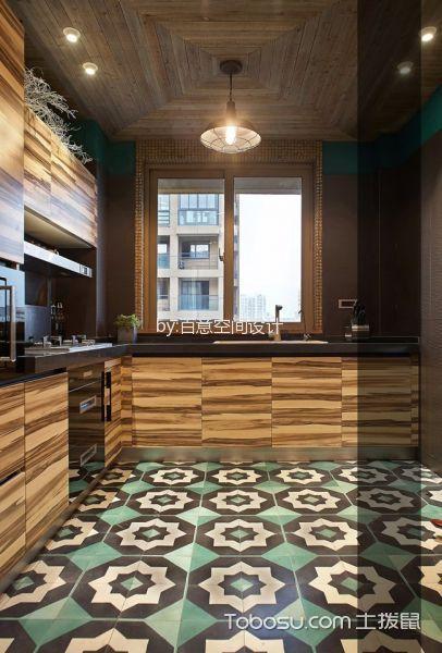 厨房咖啡色吊顶混搭风格装修图片
