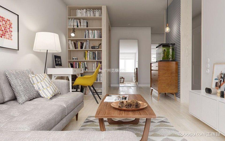 客厅白色书架简约风格装潢图片