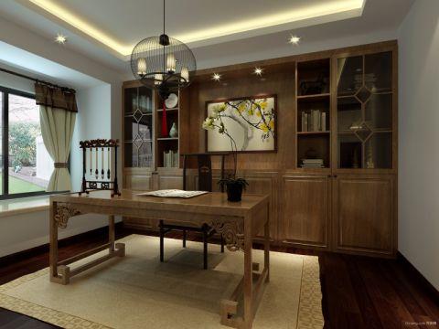 书房窗帘中式风格装修图片