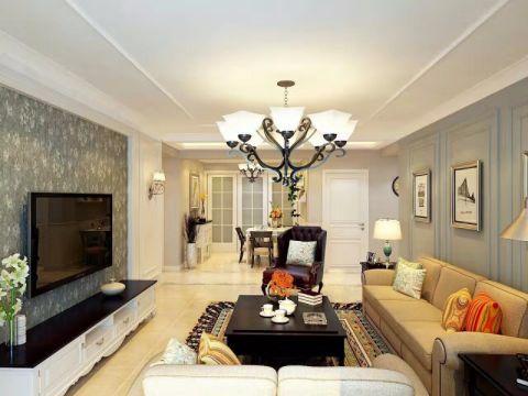 客厅白色吊顶现代风格装潢设计图片