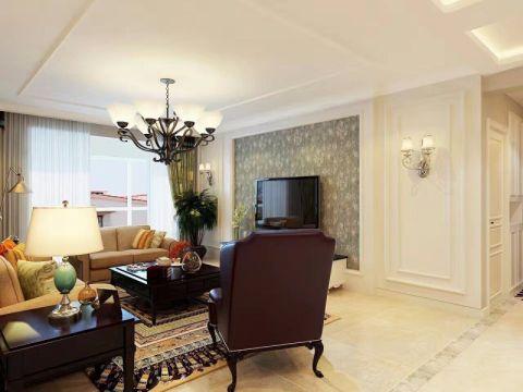 客厅彩色窗帘现代风格装修效果图