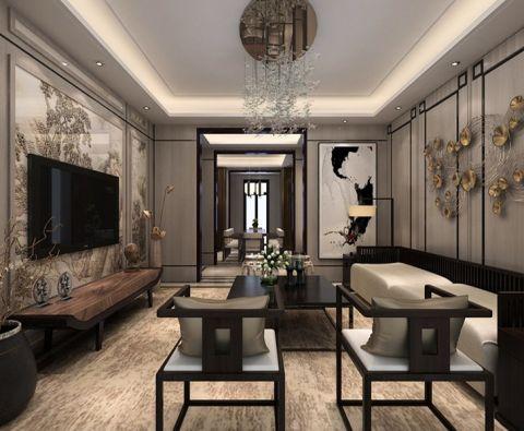 客厅彩色背景墙新中式风格效果图