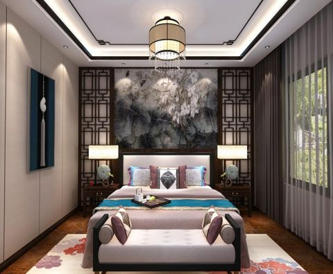 卧室灰色窗帘新中式风格装修效果图