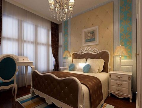 卧室黄色背景墙简欧风格装修图片