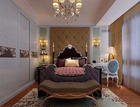 卧室书桌简欧风格装潢图片