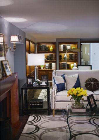 客厅博古架美式风格装修设计图片