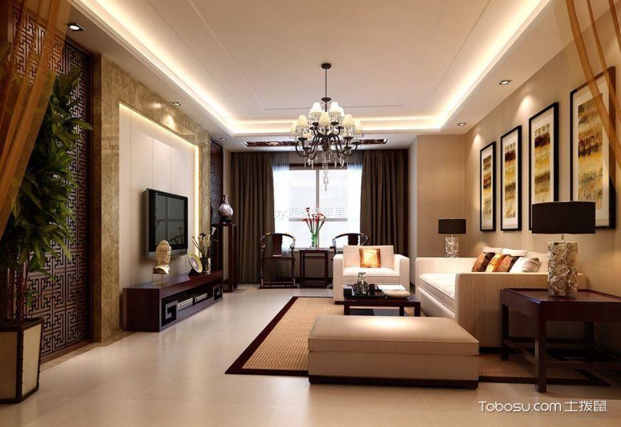 7.68万预算120平米三室两厅装修效果图