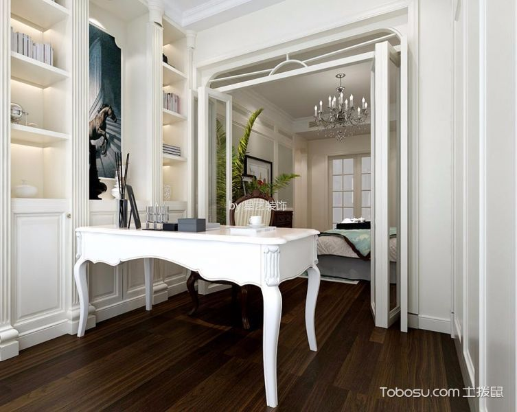 书房白色书桌法式风格装潢效果图