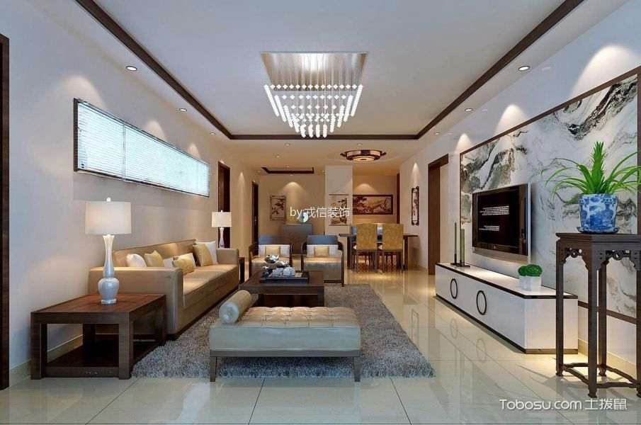 客厅 吊顶_8万预算120平米三室两厅装修效果图