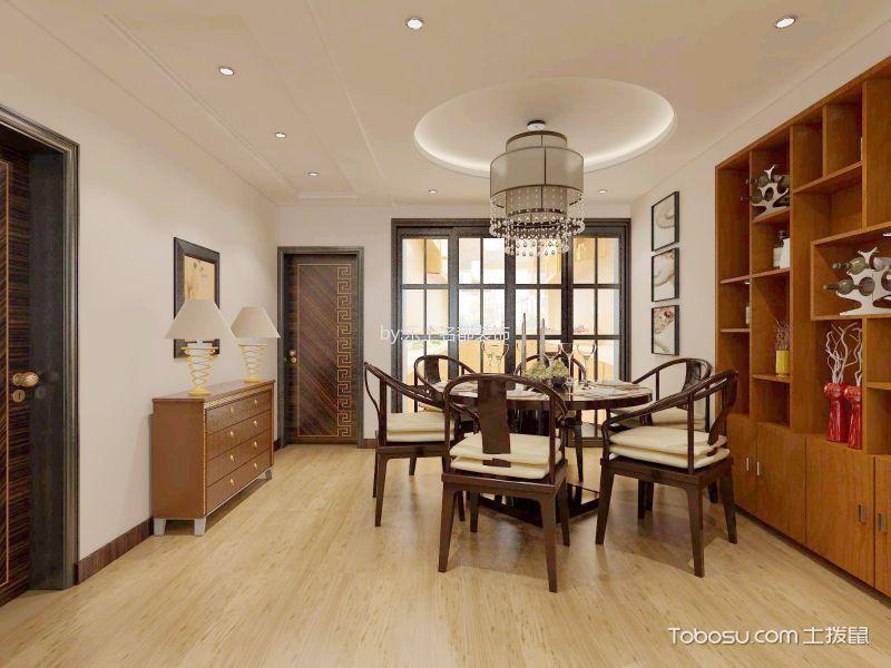 餐厅黄色博古架新中式风格装修设计图片