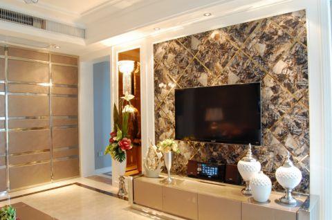 客厅彩色背景墙简欧风格装修图片