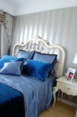 卧室白色背景墙简欧风格装潢图片