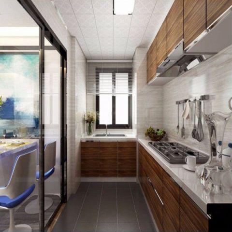 厨房推拉门现代简约风格装潢效果图