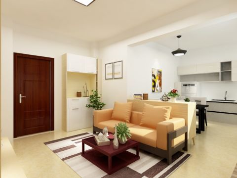 简约风格90平米两房两厅新房装修效果图