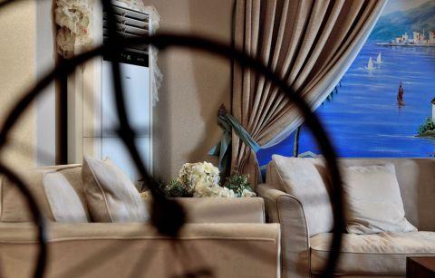 客厅窗帘地中海风格装潢设计图片