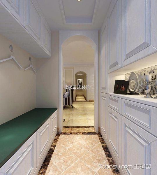 玄关白色鞋柜美式风格装修图片