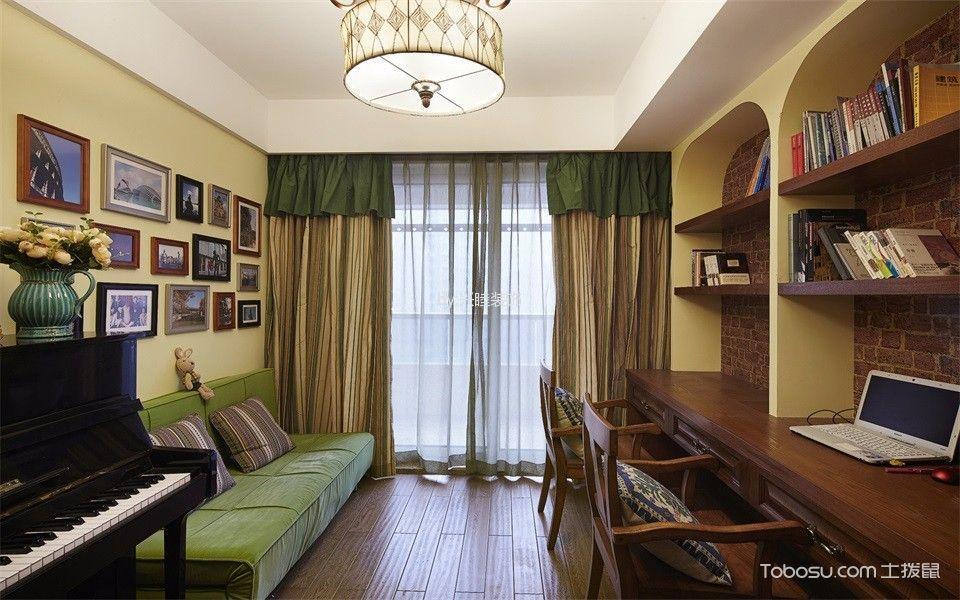 书房黄色窗帘混搭风格装潢设计图片