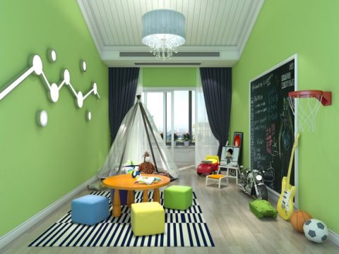 儿童房背景墙简欧风格装修图片