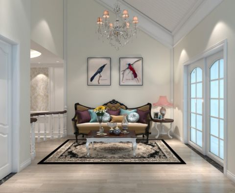 客厅推拉门简欧风格装潢设计图片