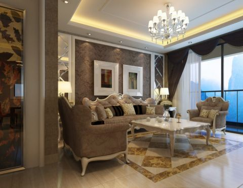 欧式风格110平米三室两厅室内装修效果图