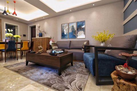 新中式风格89平米两室两厅室内装修效果图