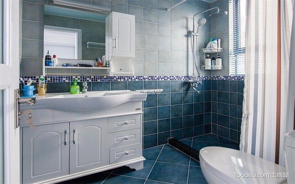 卫生间彩色背景墙地中海风格装修设计图片