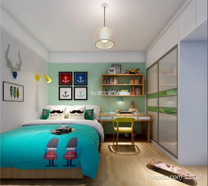 卧室绿色照片墙北欧风格装修设计图片