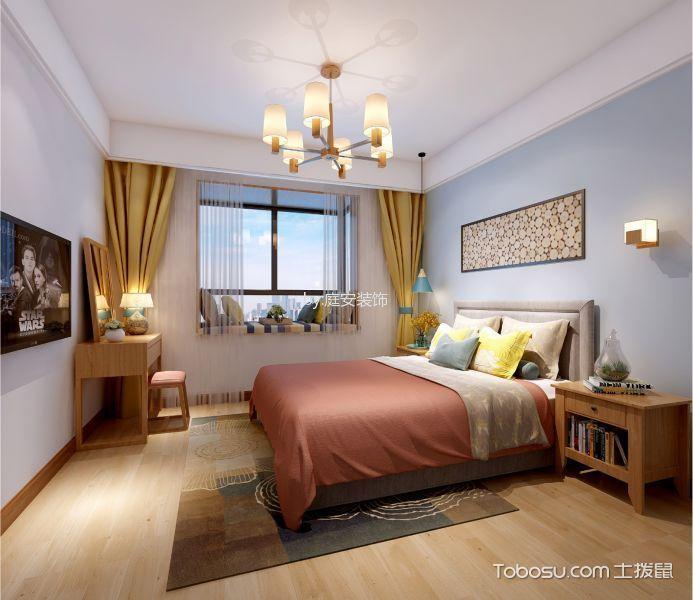 卧室黄色窗帘北欧风格装潢设计图片