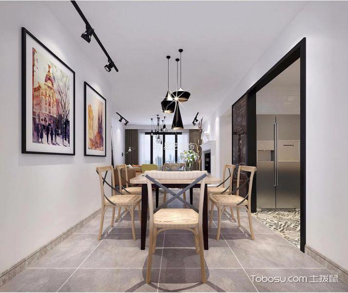 餐厅白色吊顶北欧风格装饰设计图片