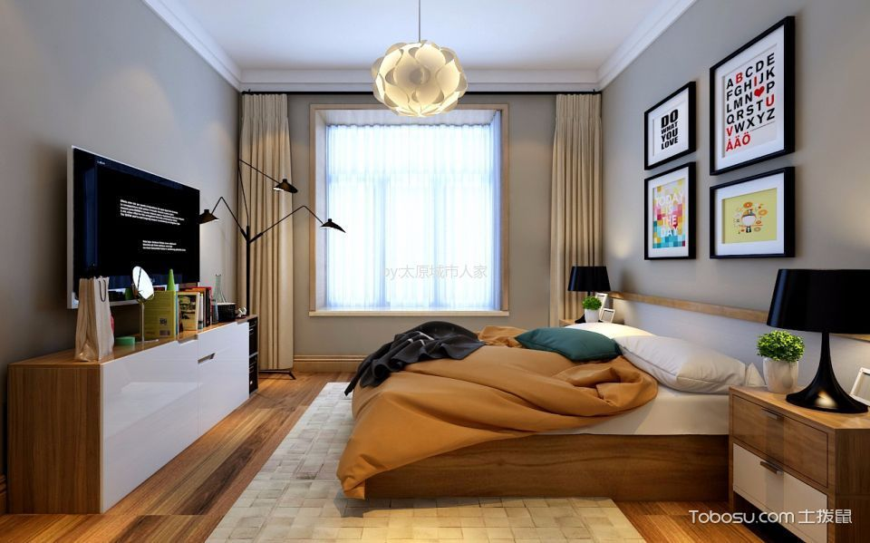 卧室米色窗帘北欧风格装饰图片