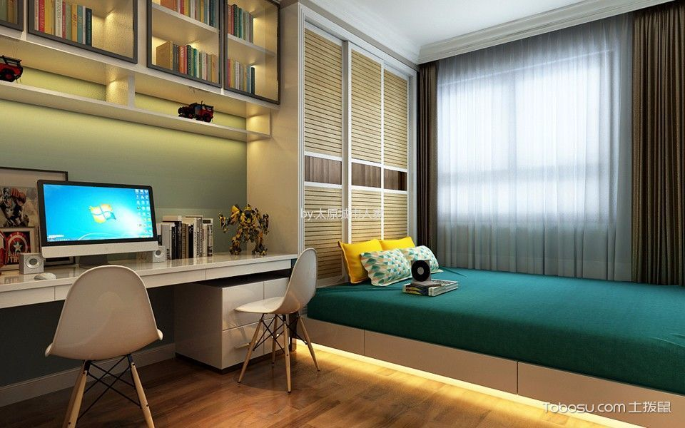 卧室白色榻榻米现代简约风格效果图